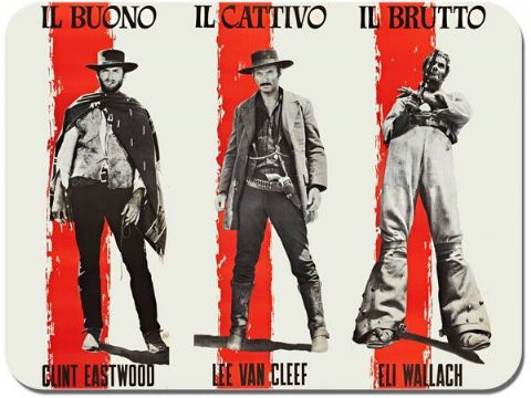 The Good, The Bad and The Ugly Italian Poster Mouse Mat. Film Novelty Mouse pad